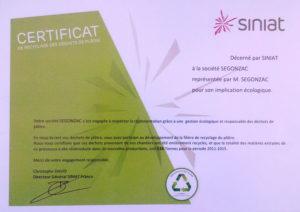 Certificat de recyclage délivré par SINIAT pour l'année 2015